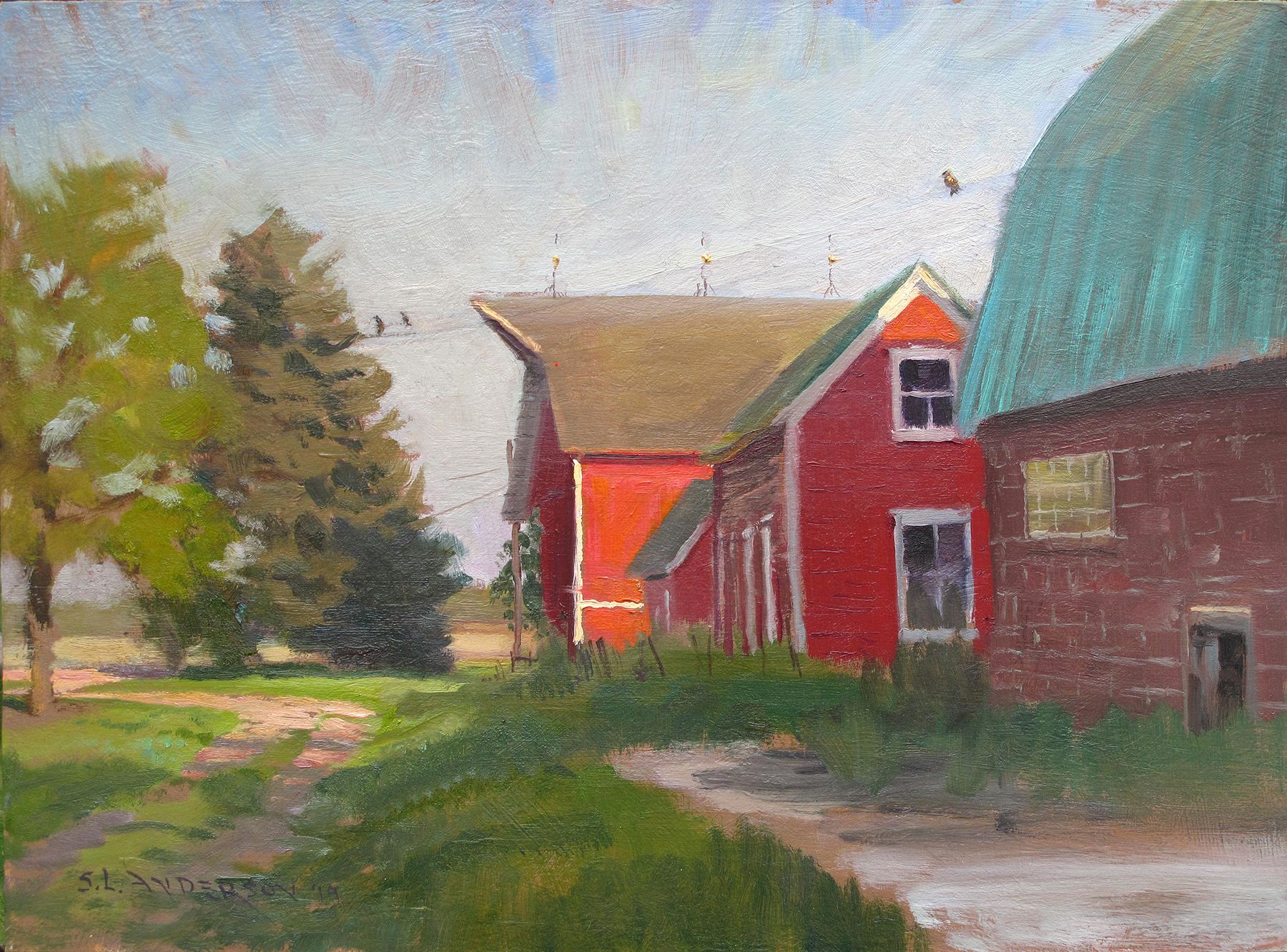Red Barn Painting  12 x 16 oil on panel Painted on location in Carver, Minnesota.