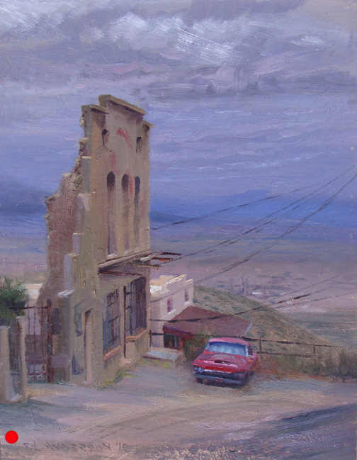 T-Bird and the Old Jail , 12 x 16 oil on panel Set on the side of a mountain, the old mining town of Jerome, Arizona provides a 20 mile view across the valley. On this cloudy, rainy day I was scouting for a painting and was captivated by the lovely blue horizon. Then this red car and yellow ochre building facade jumped in front of it. SOLD