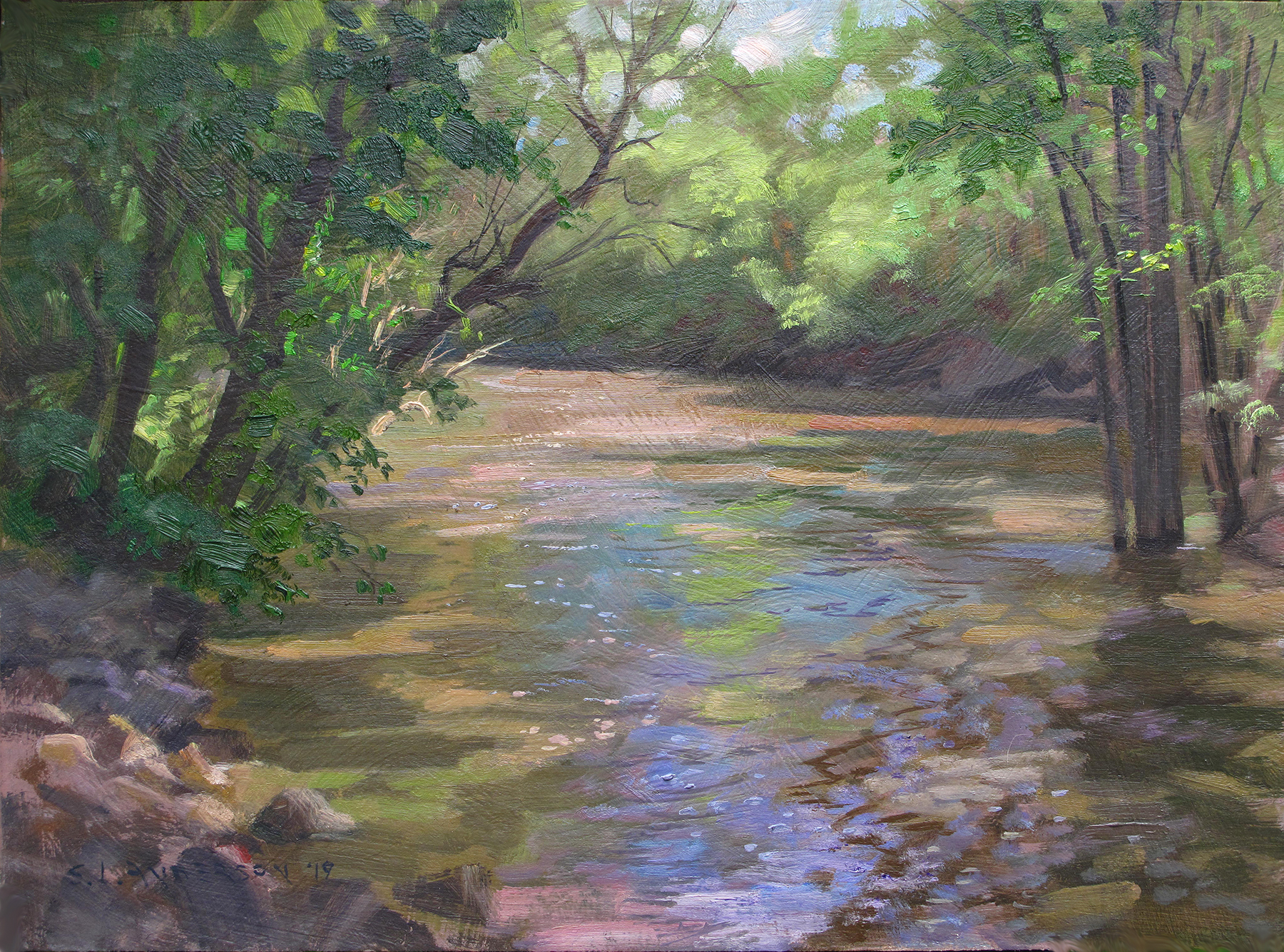 Swollen Creek    12 x 16 oil on panel   Painted on location near Carver, Minnesota. Reflections and shadows on rippling water…and a few ticks.