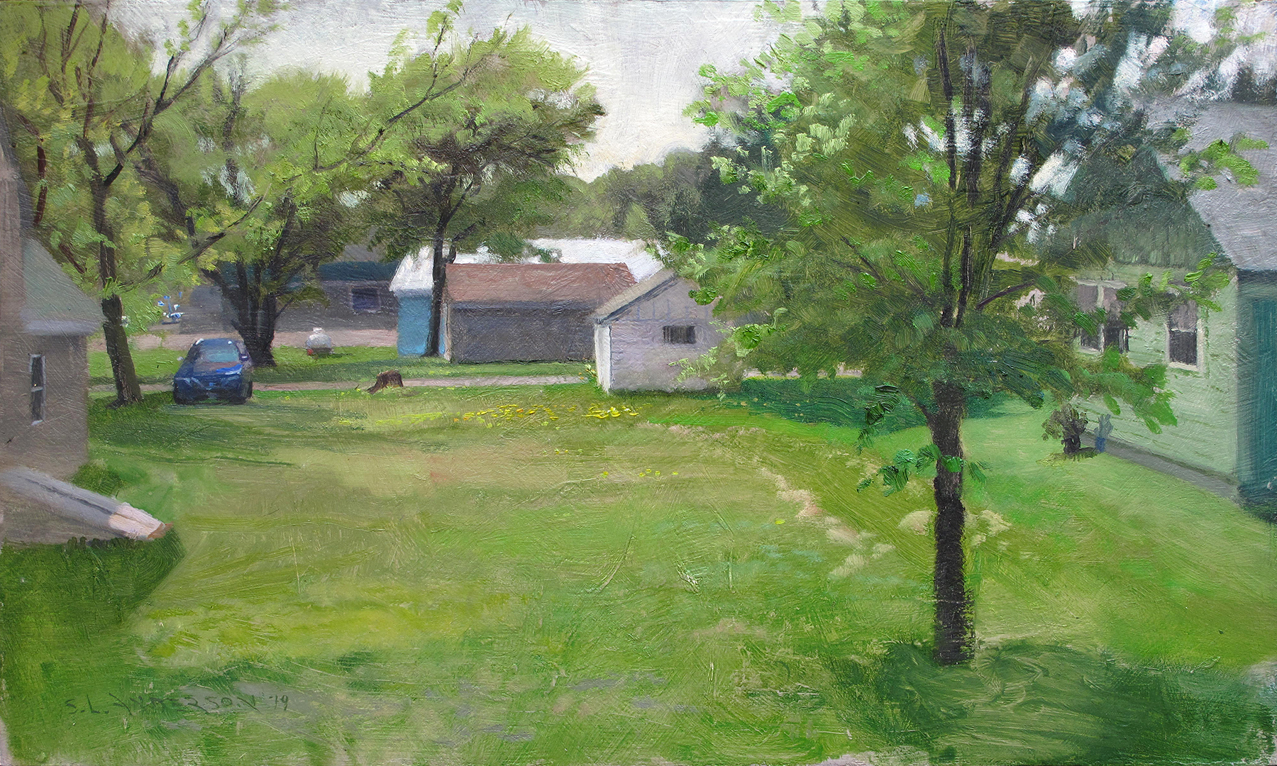 Country Yard  12 x 20 oil on panel Painted on location in Danbury, Wisconsin. Freshly mowed.