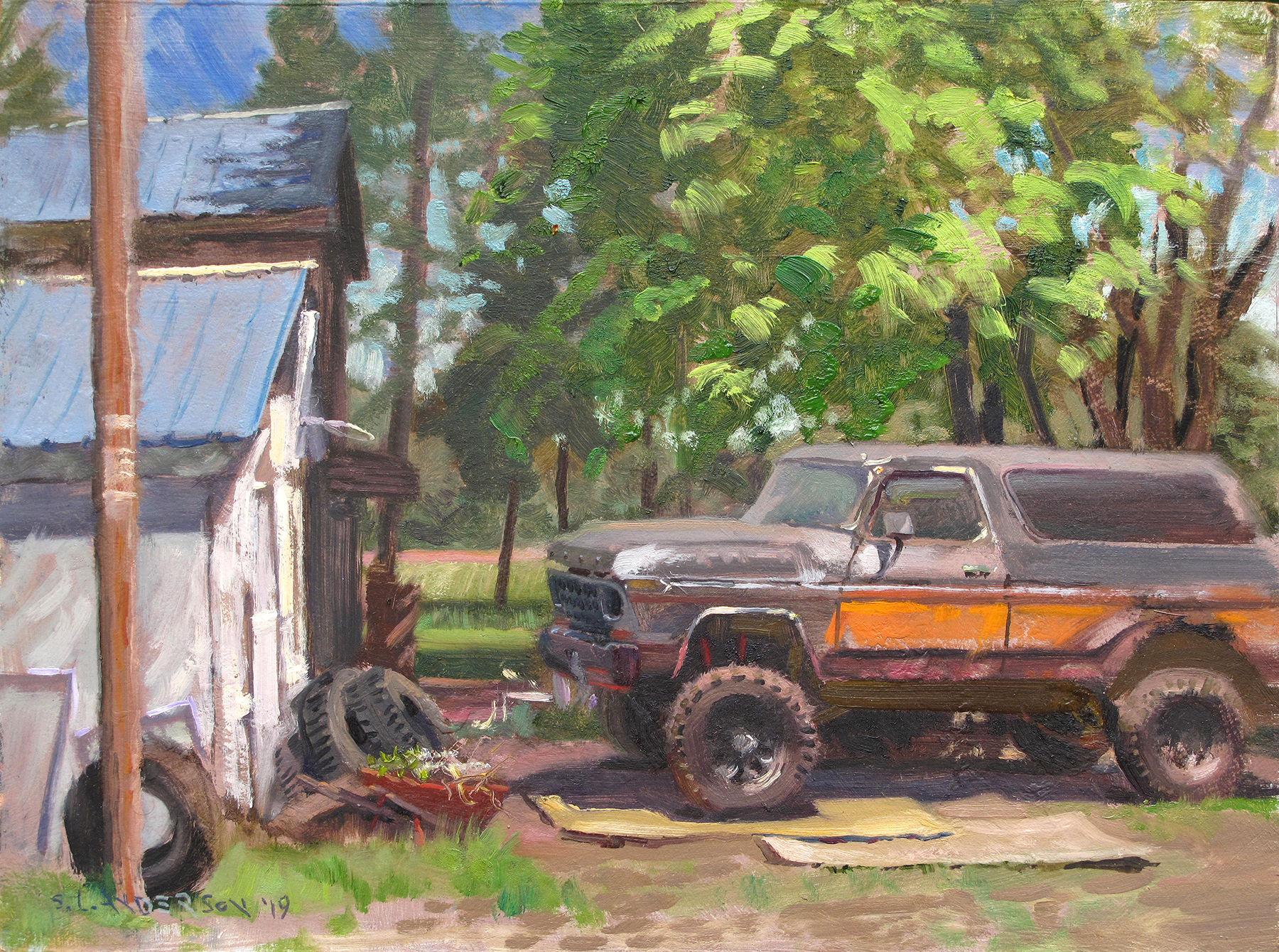 Rusty Bronco  12 x 16 oil on panel Painted on location in Danbury, Wisconsin.