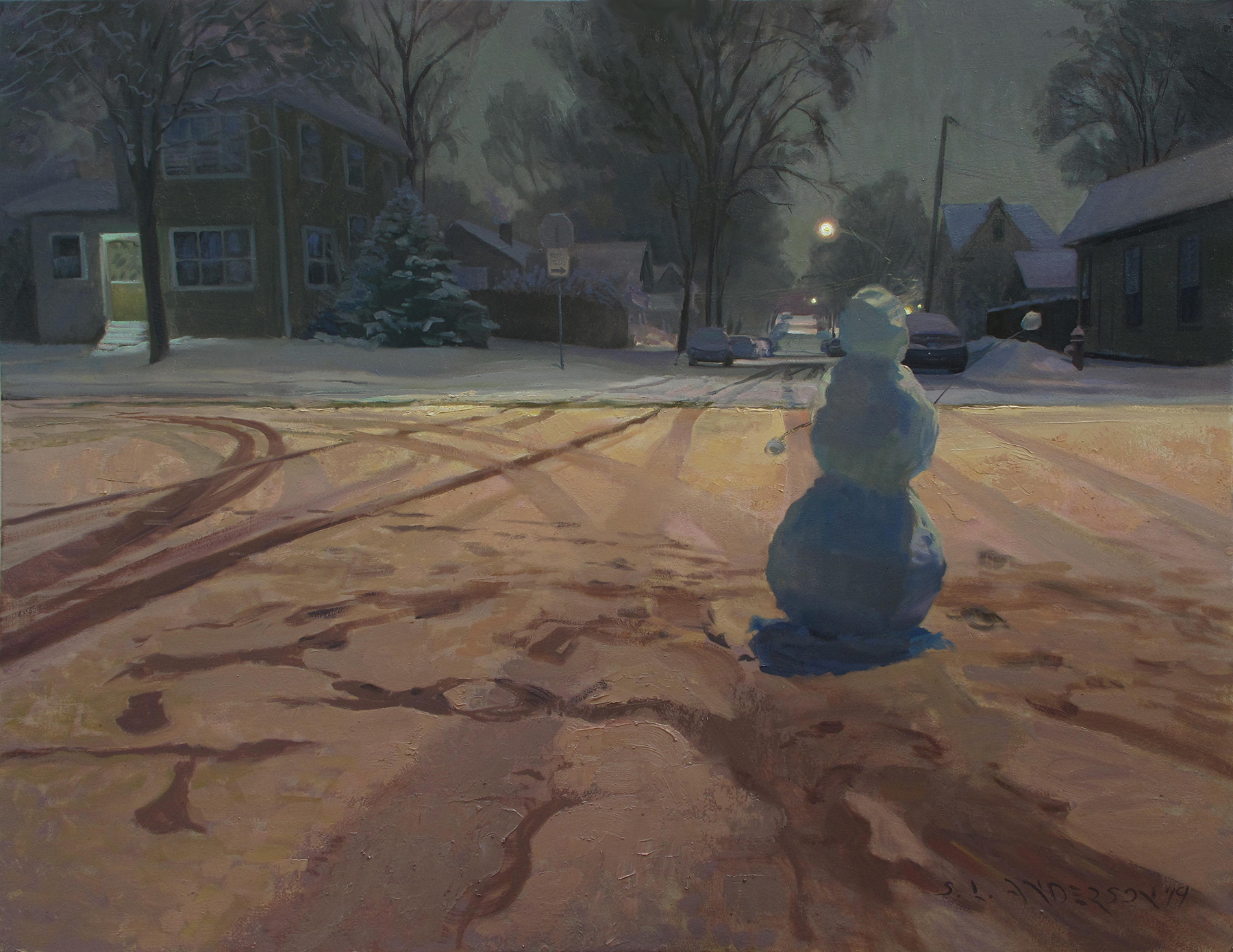 Night at the Intersection  36 x 48 oil on canvas When our kids were little, they used to build 3- to 4-foot snow people then set them in the middle of our quiet—but not  totally  quiet—side street. They'd sit behind the backyard fence and watch as cars came along. Most drivers would ease up, then… Would they slowly smush the little guy? Accelerate to ramming speed and explode it? It was always a pleasant surprise how many people would carefully drive around, presumably with a smile on their faces. Safety advocates might not recommend this pastime  (Don't try this at home, kids!),  but it beats YouTube.