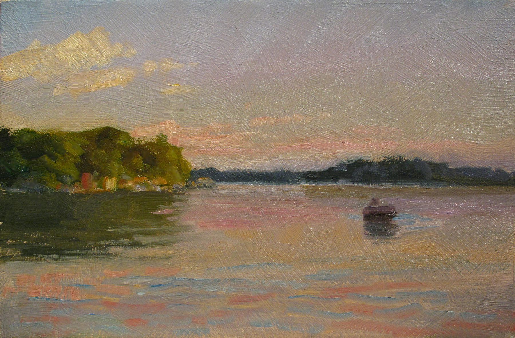 "Done Fishin""'    7 x 11 oil on panel  Painted on location on Lake Fannie near Cambridge, Minnesota."