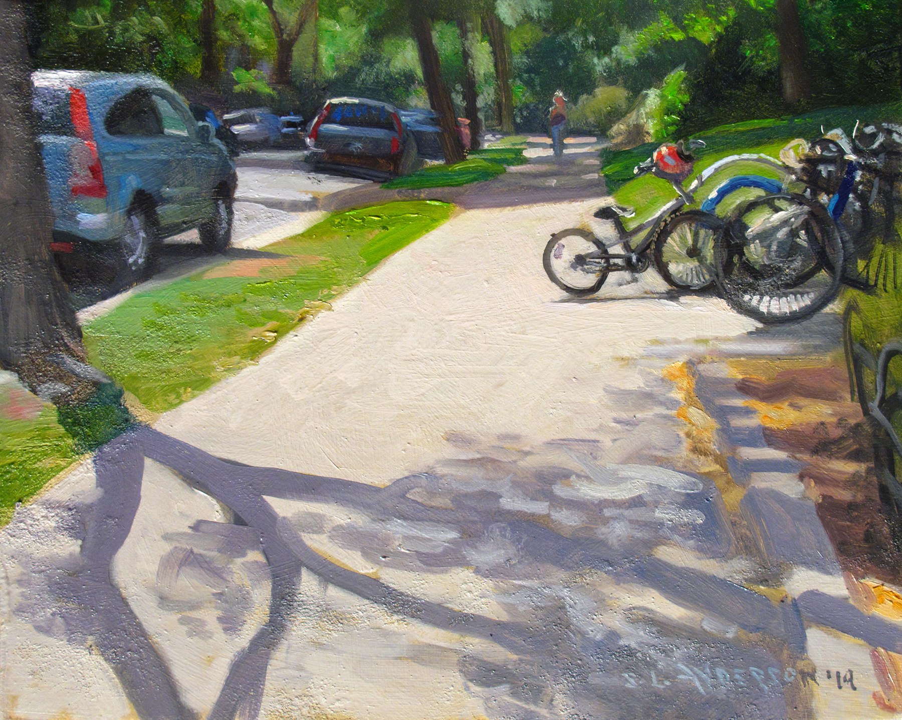 Bike Rack  8 x 10 oil on panel Painted on location in Minneapolis in front of the Linden Hills library.