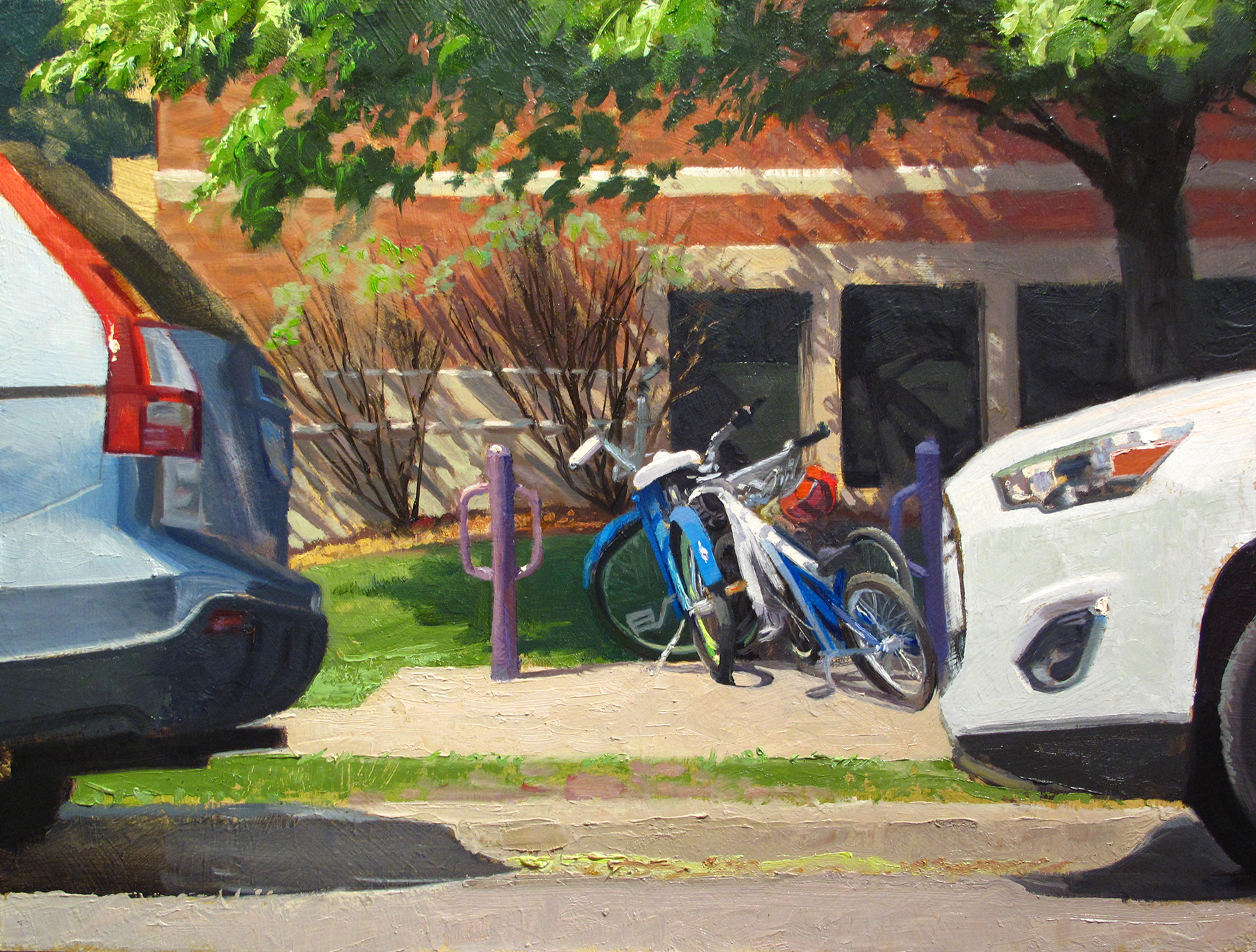 Bikes and Cars  18 x 24 oil on panel Studio painting based on a location from the Linden Hills neighborhood in Minneapolis..