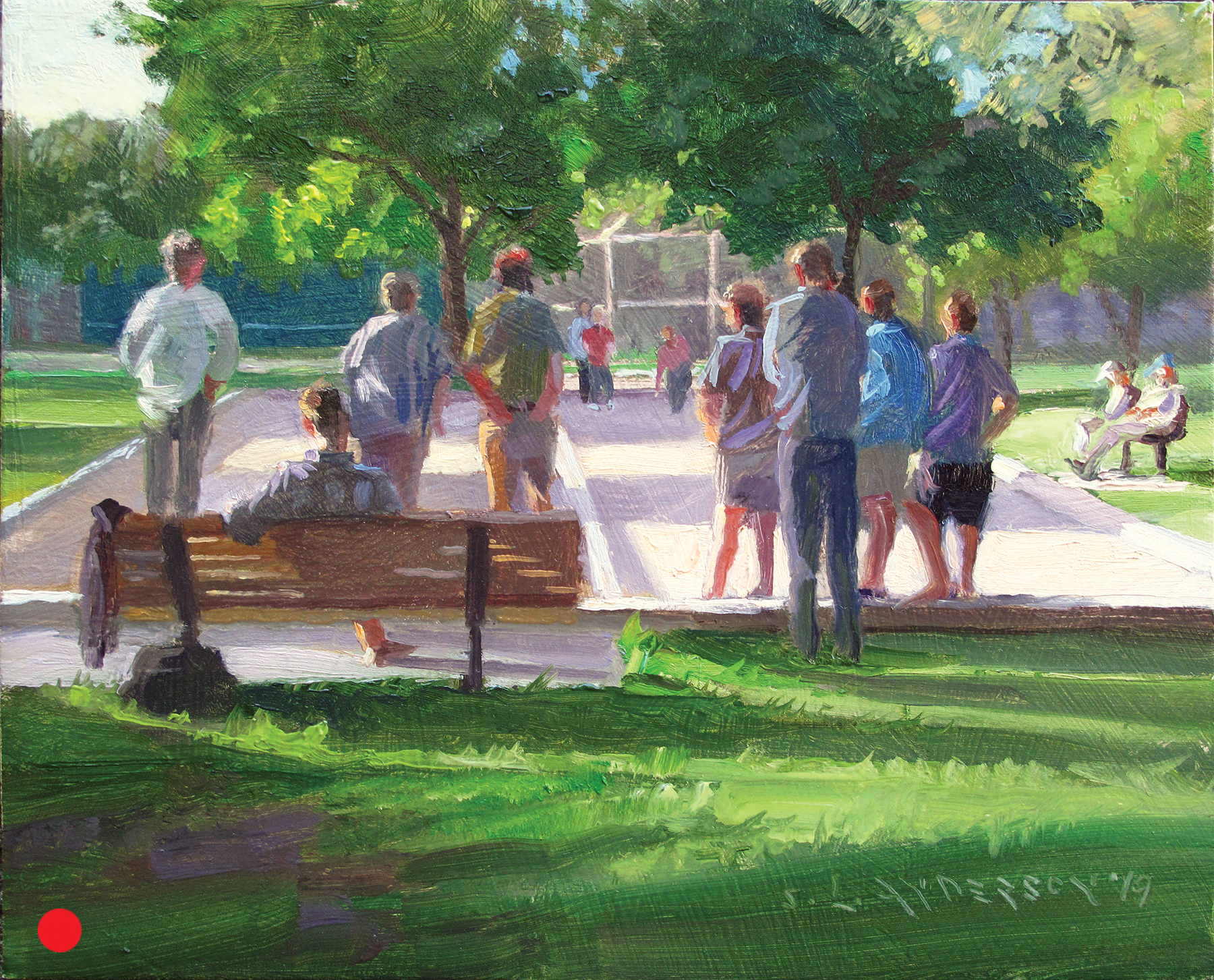 Bocce Ball in the Park  8 x 10 oil on panel Painted on location in Minneapolis at Linden Hills Park.