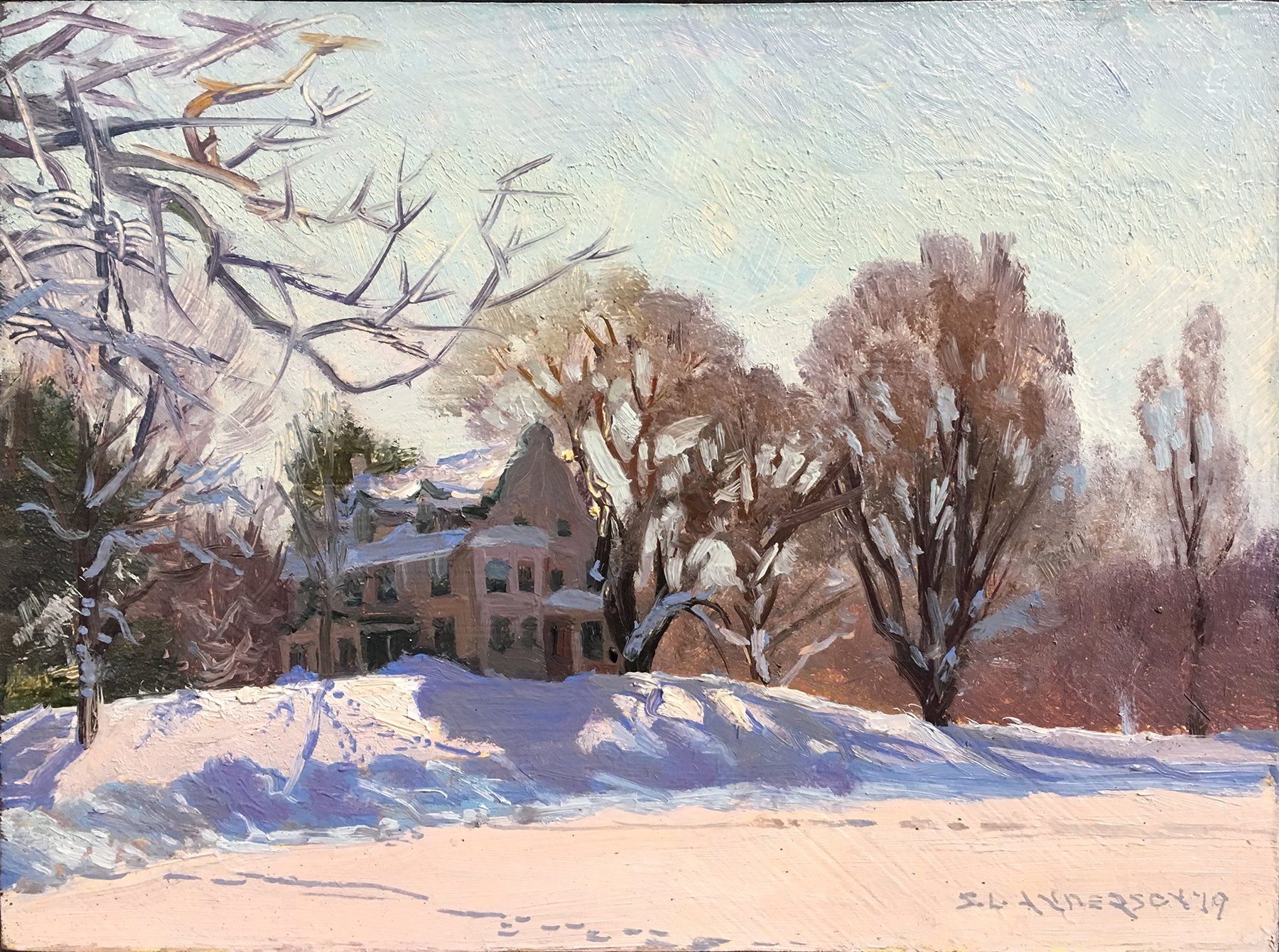 Farmstead Park, Winter  6 x 8 oil on panel The Theodore Wirth Home and Administration Building is listed on the National Register of Historic Places. His work on the Minneapolis park system influenced park planning for municipal, state and national parks across the country. Behind it is a primo sledding hill.   .