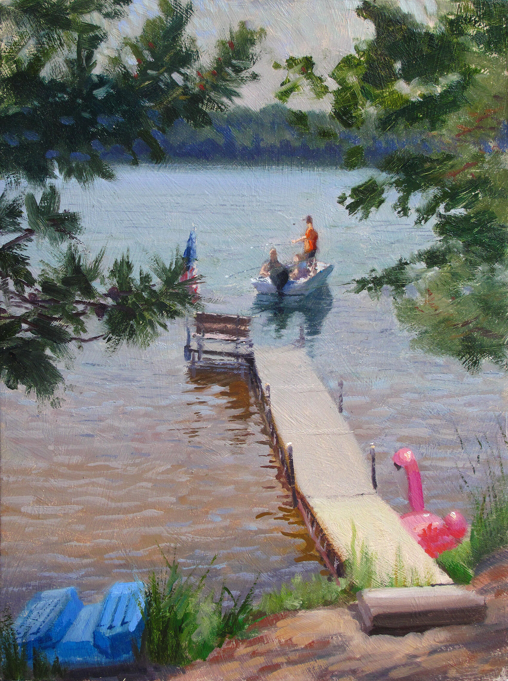 4th of July    16 x 12 oil on panel  Painted on location in the Danbury area in Wisconsin. If there are brightly-colored inflatables around, I'll paint 'em. This swan in the lower right allowed me to pull out the Quinacridone Magenta. If I put that crazy stuff is on my palette there may be trouble a-brewin'. This day I demonstrated some rare restraint.