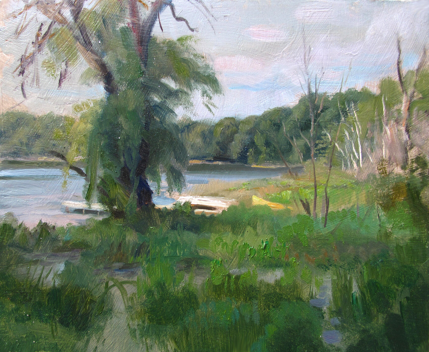 Early Evening Light    8 x 10 oil on panel  Painted on location, Des Moines Lake near Webb Lake, Wisconsin.