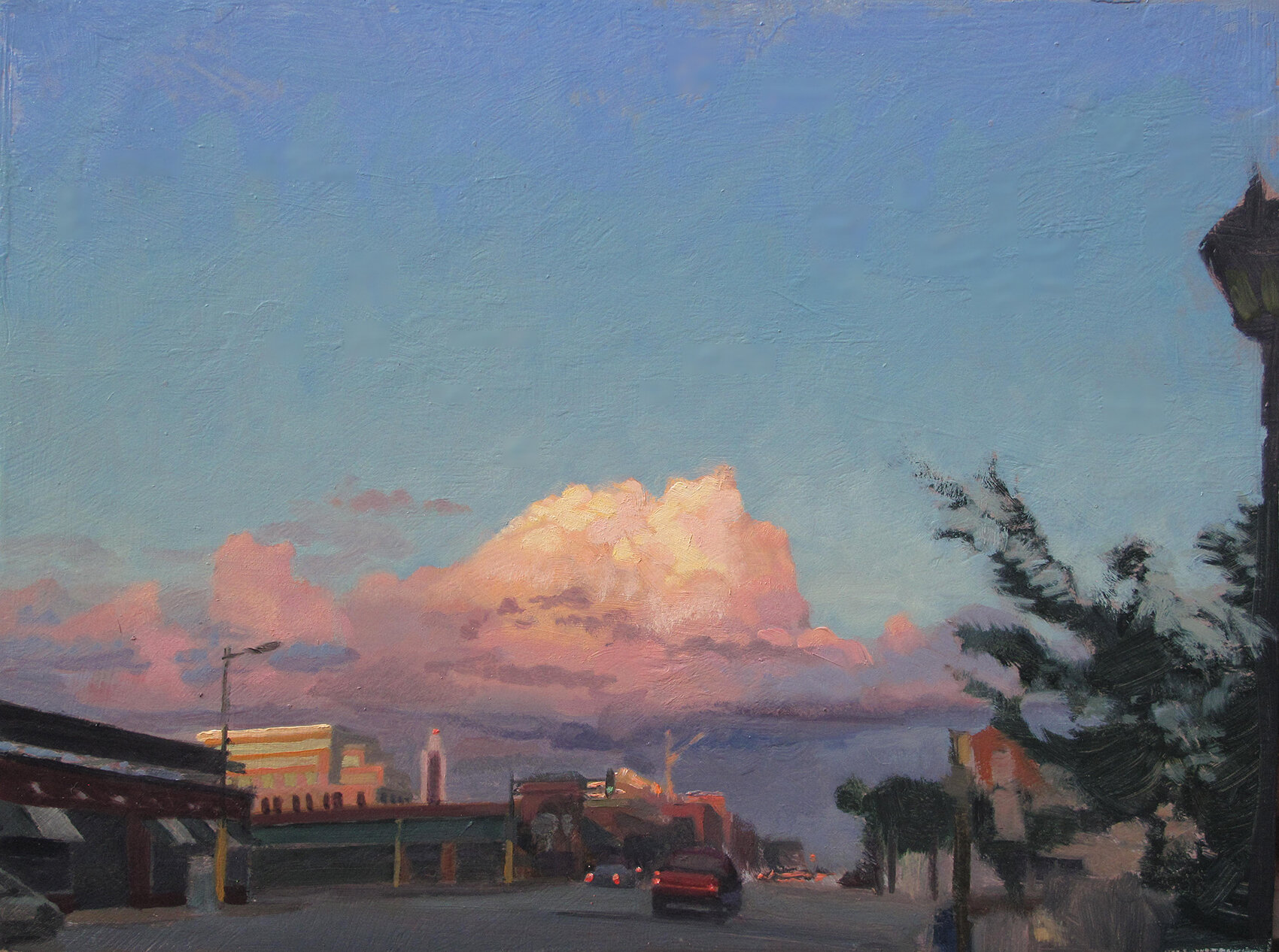 Beautiful Cloud Over Uptown    12 x 16 oil on panel