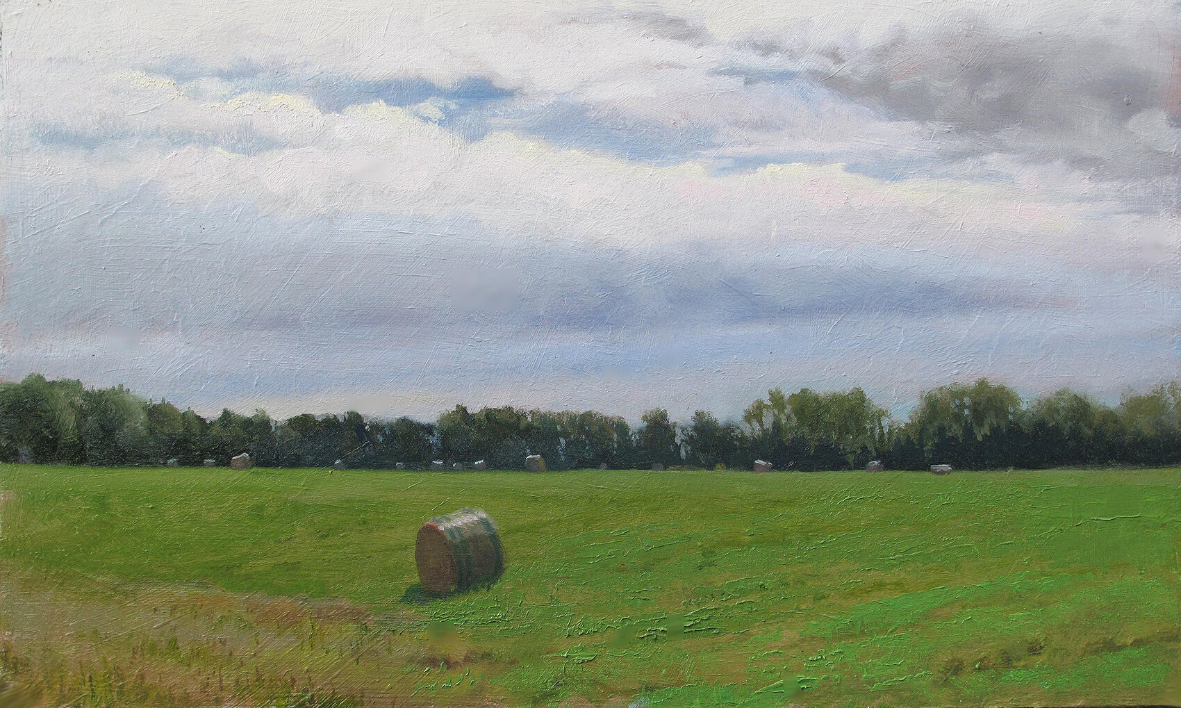 Haybale Outstanding in It's Field    12 x 20 oil on panel  I'm sorry I titled this painting with that old chestnut. I've always felt compelled to do it and today seemed like the right day.