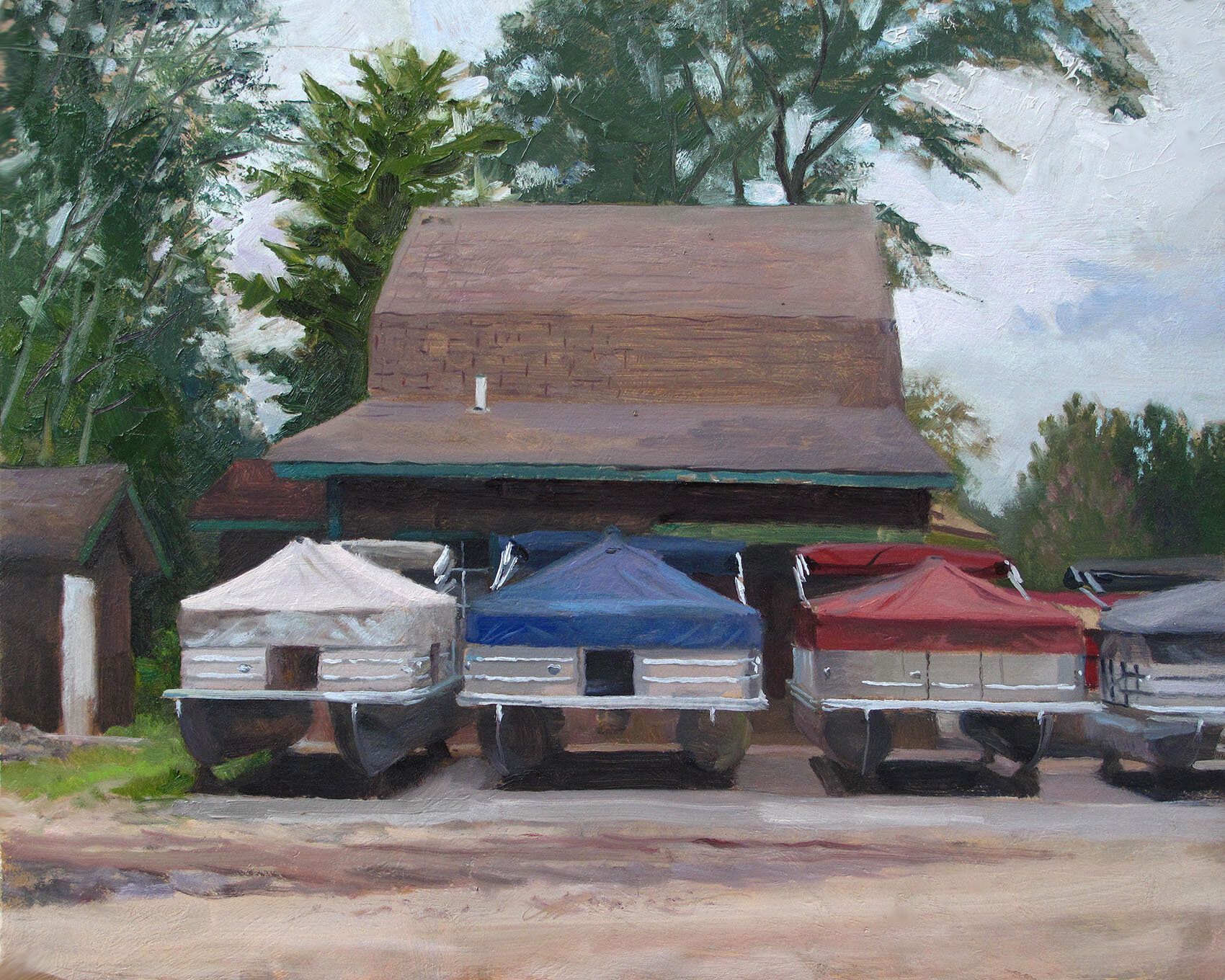 Red, White, and Blue  18 x 24 oil on panel As American as…pontoon boats.