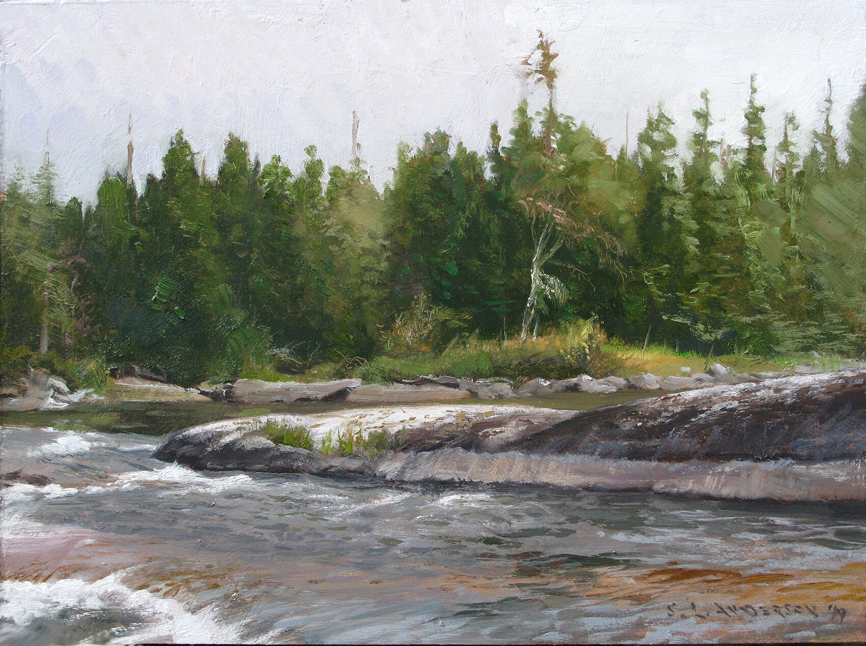 Quetico Tableau    12 x 26 oil on panel  This park is just across the border. Canada's Boundary Waters canoe and wilderness area per sé. The character of the rock always amazes. I was told by a geology guy that the exposed rock in this general area is some the oldest in the hemisphere. I told my fellow canoe tripper this, who lives in the very rocky Connecticut. He replied that's what a geology guy told him about his rock. I guess your rock isn't cool unless it's the oldest.