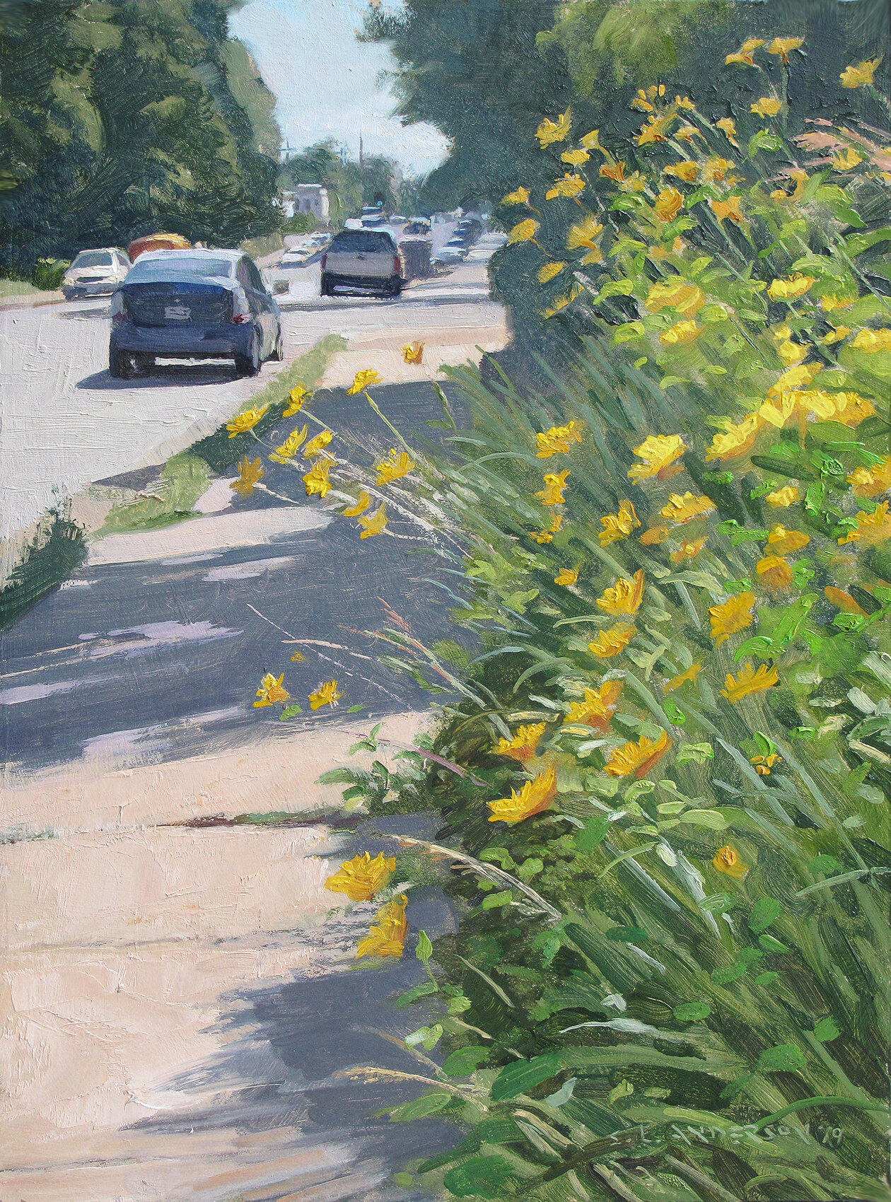 Sidewalk Wildflowers    16 x 12 oil on panel