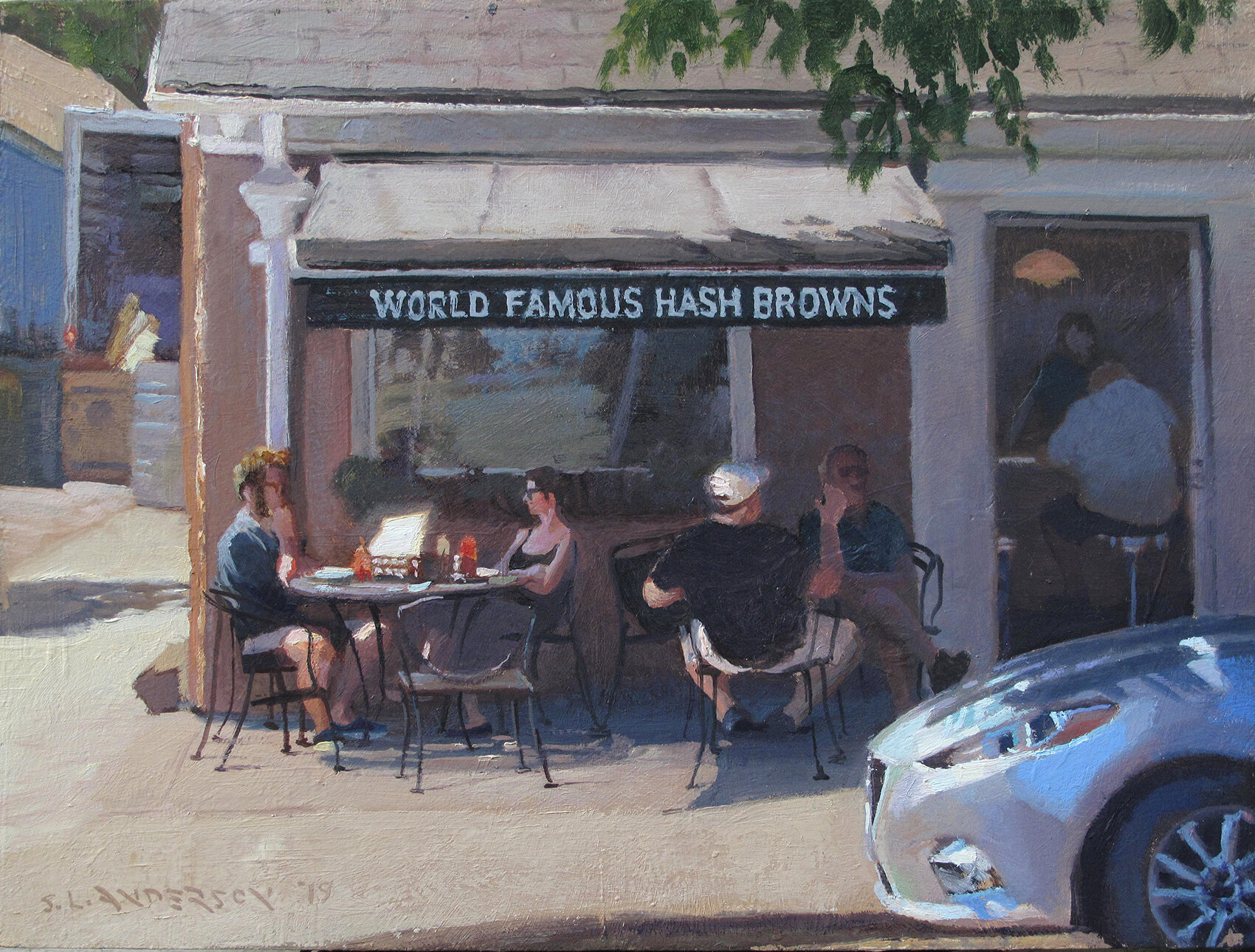 Local Breakfast Spot    12 x 16 oil on panel  Guess what's good to eat there?