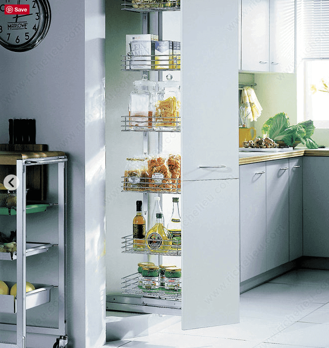 Pullout units, available in a variety of materials and sizes, offer an organized vertical storage solution that should fit in just about any kitchen.