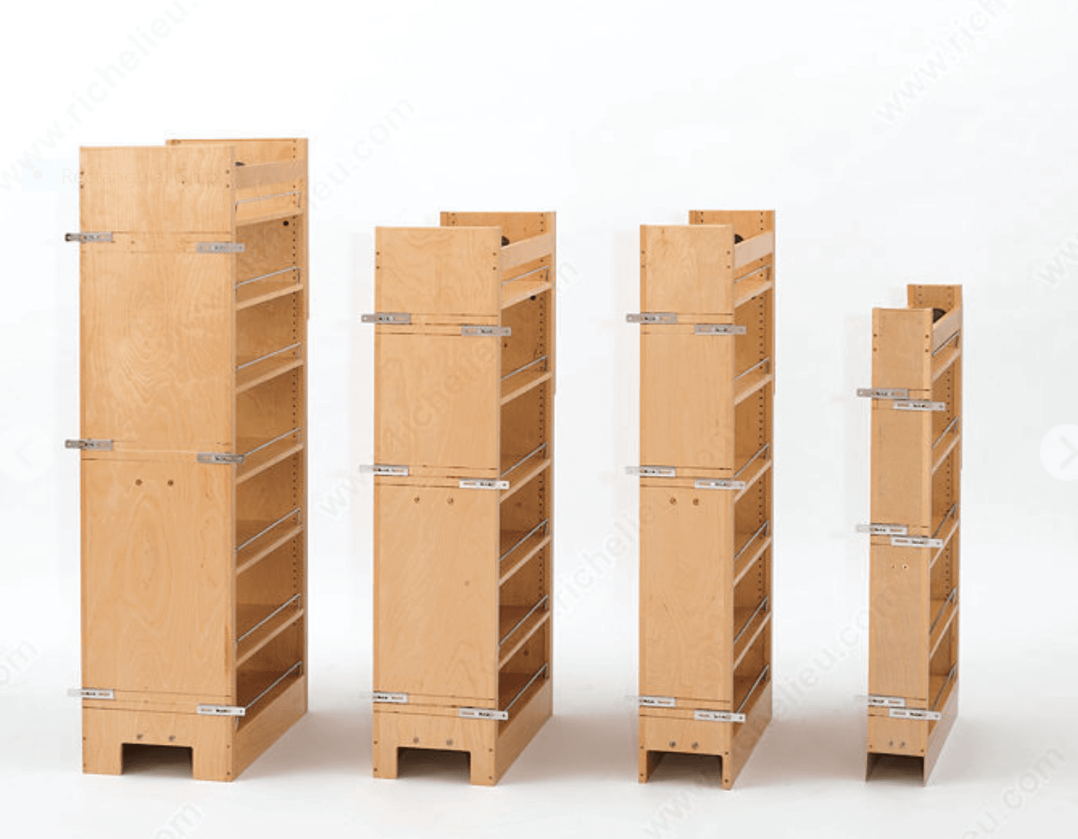 Wood pantry inserts in various widths and heights.