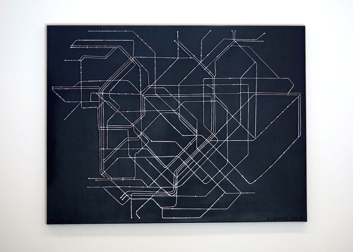 Tokyo Subway - Map of Tokyo's rapid transit system, Tokyo Metro, made from steel rod and wood.