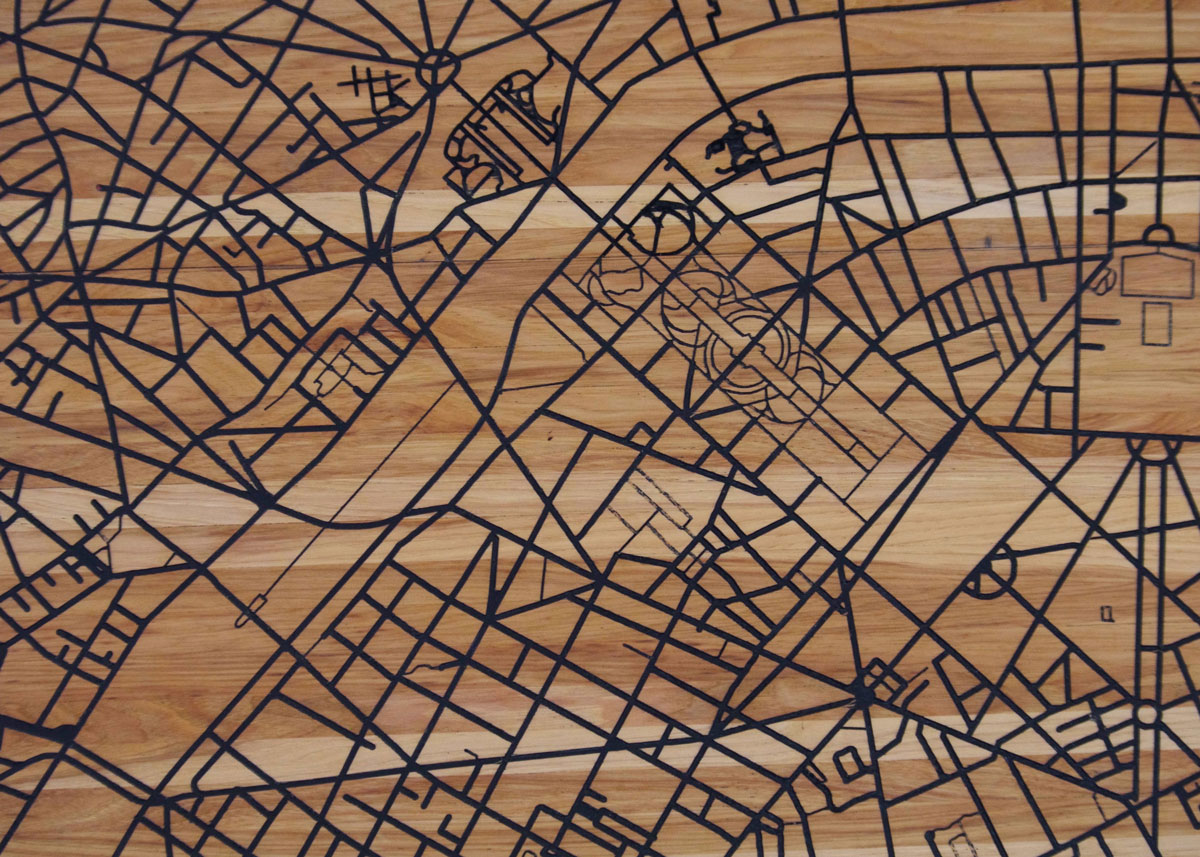 Je Suis Charlie - Street map of Paris made from hickory and stainless steel.