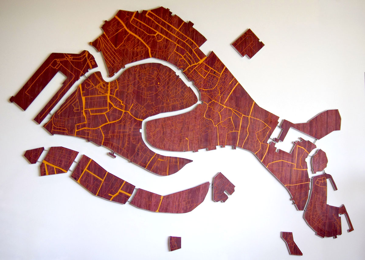 Venice in Love - Street map of Venice made from purpleheart and stainless steel.