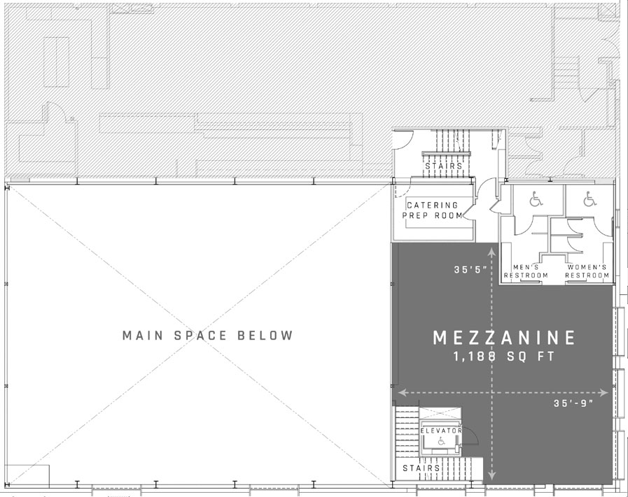 Floor plan of the Mezzanine venue