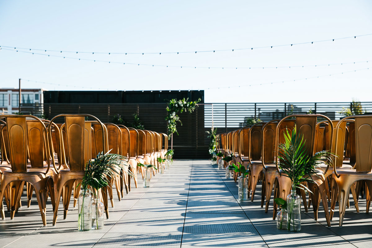 Wedding ceremony venue set up on the rooftop