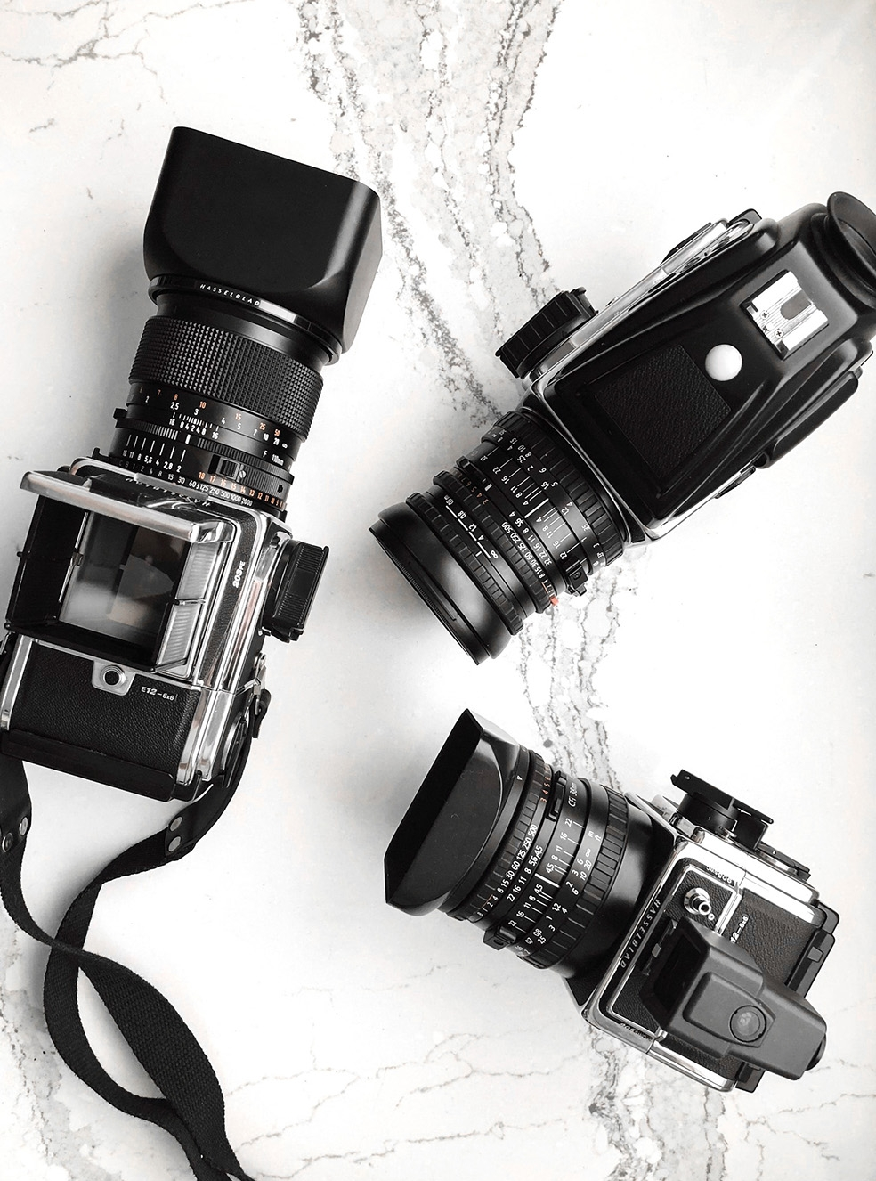 A few other fun MF cameras from our collection. Hasselblad 203FE / Planar 2/110 | Hasselblad 503CW / Distagon 4/50 | Hasselblad 905SWC / Biogon 4,5/38