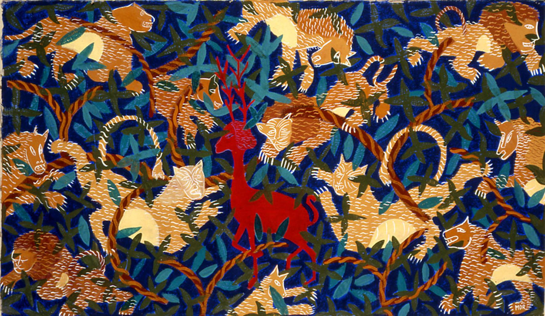 Mémoire de l'âge d'or II,  Tempera on Nepalese Paper, 2002, 58 x 9 9 in.