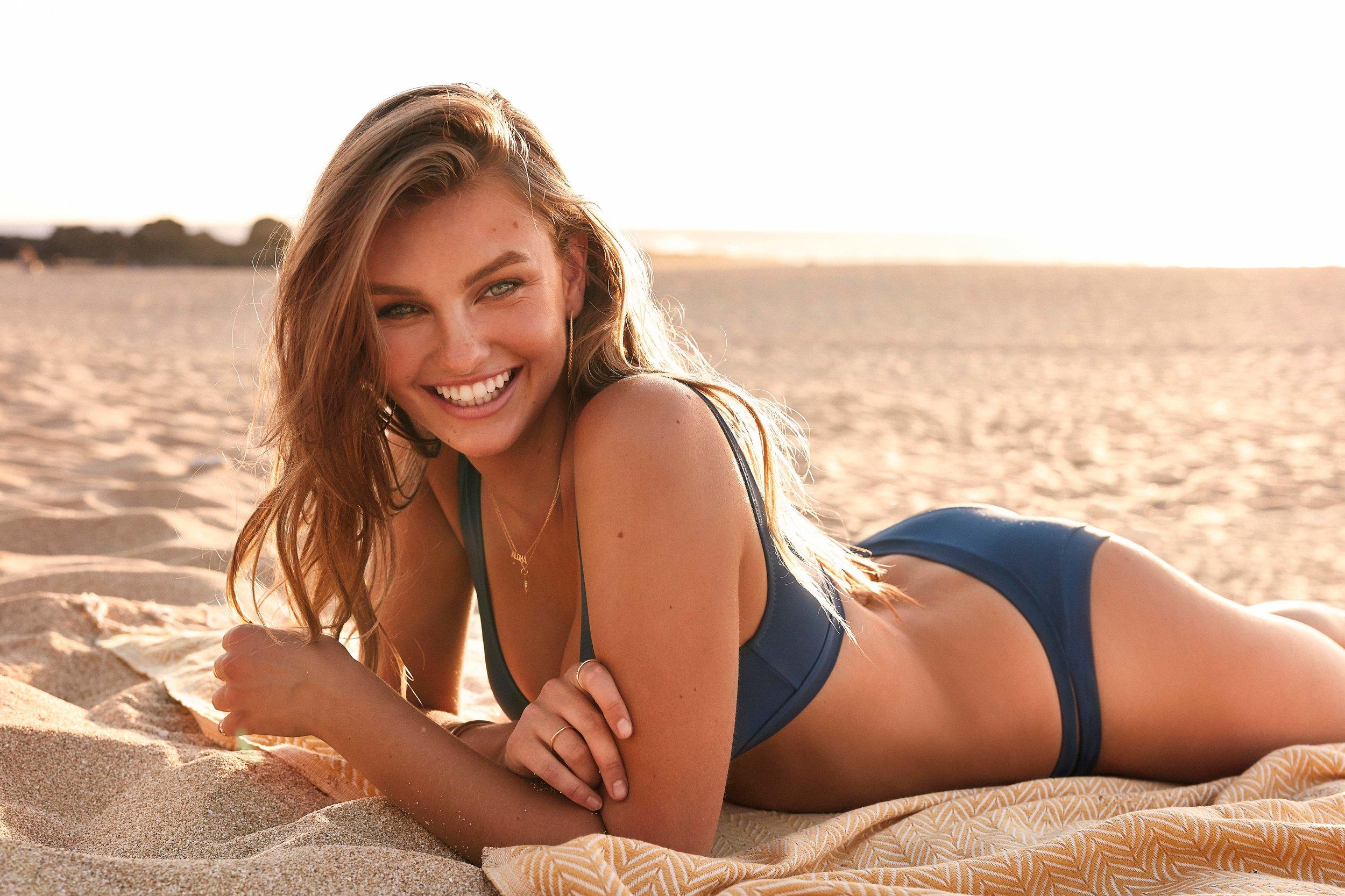 Gidget Scoop Top Sea & Sunchaser Itsy Pant Sea & Beach Towel Marigold 2.jpg