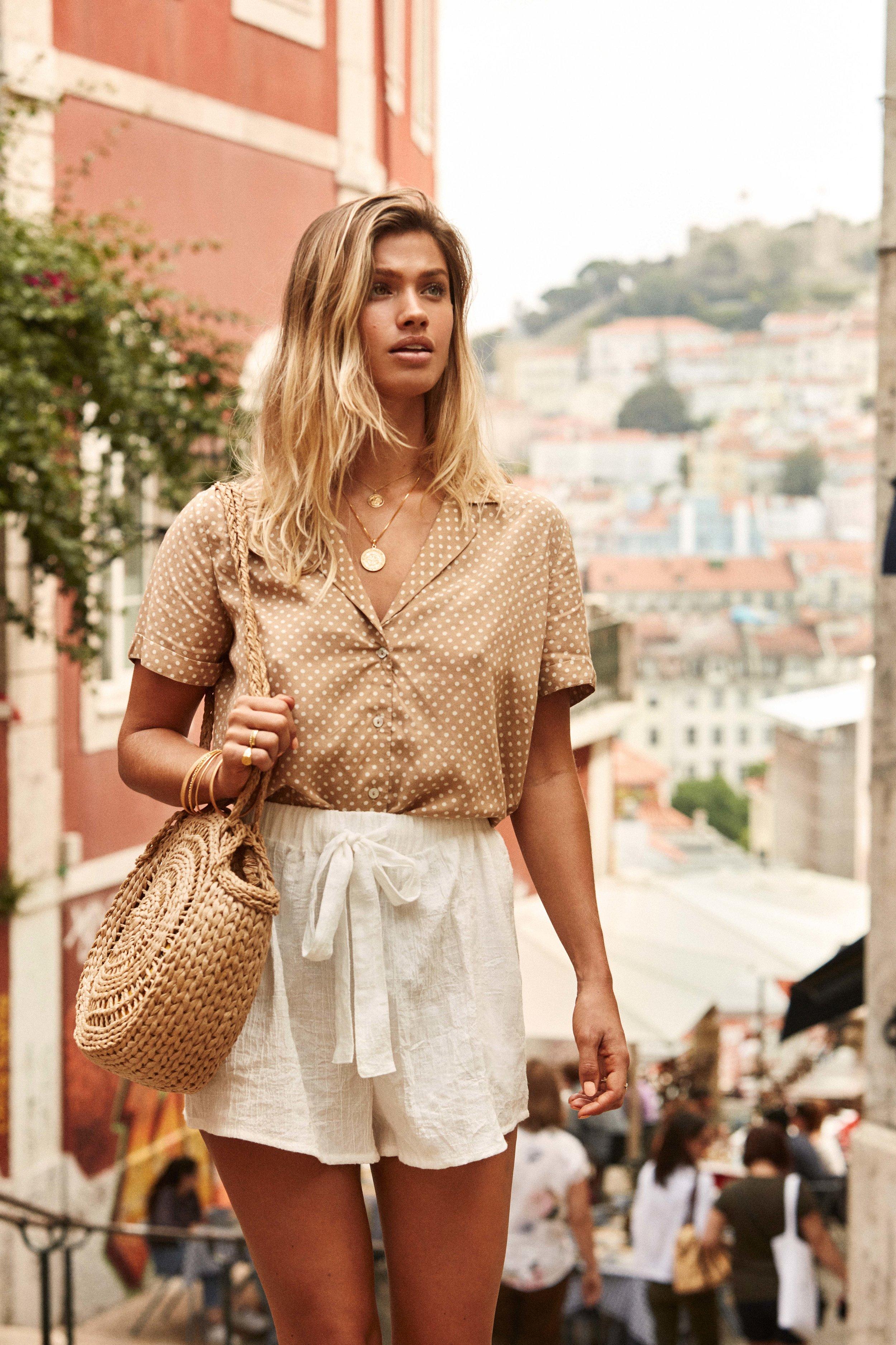 Palm Shirt Sand & Lisbon Short White & Tiki Beach Bag Straw 3.jpg
