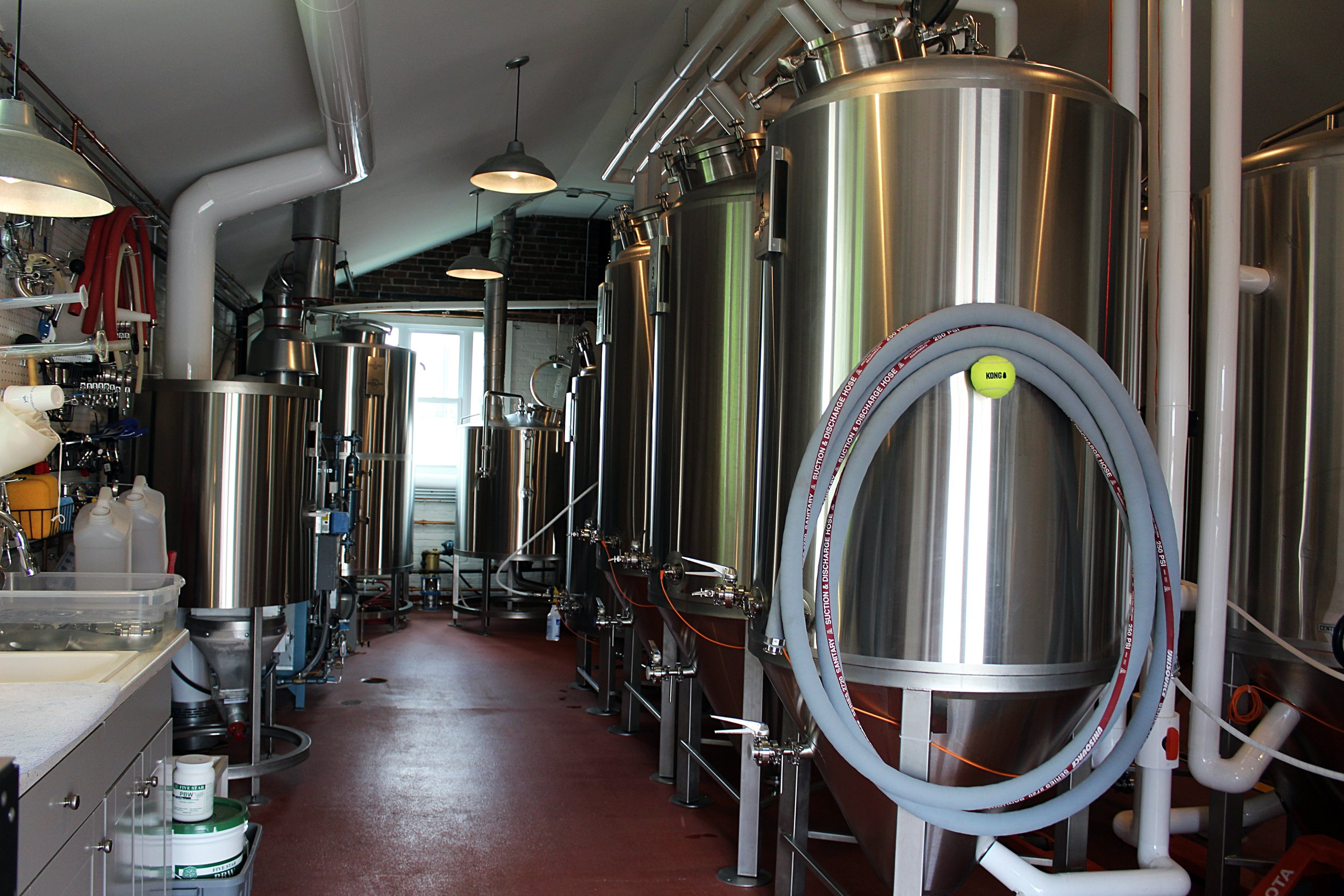 Where all the magic happens; our brew house is located in the back of our brewery where we brew all of our beers in-house