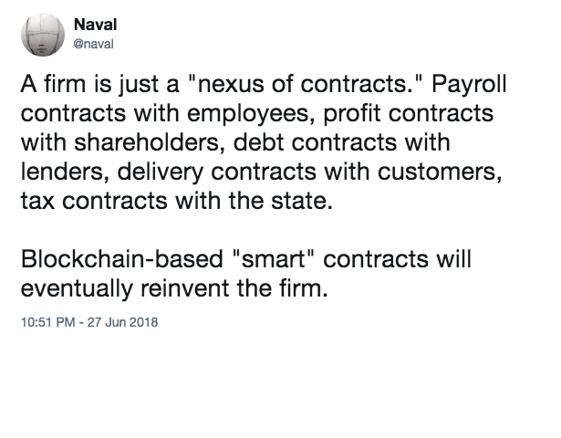 Smart Contracts could re-invent the firm