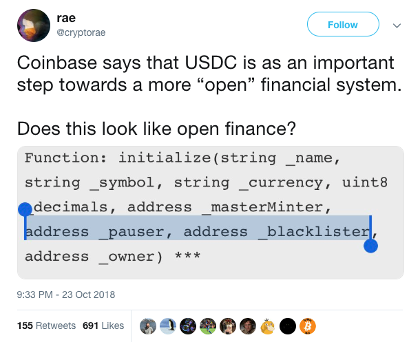 Fiat backed stablecoins will be regulated. USDC can be blacklisted — it is not decentralized or censorship resistant.