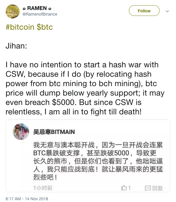 Jihan Wu getting ready to defend BCHABC.