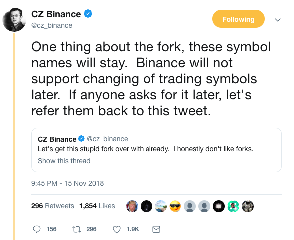 Binance CEO, Changpeng Zhao, getting tired of ticker changes.