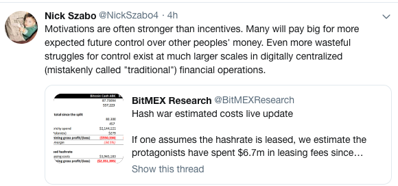 Polymath Nick Szabo weighs in on the 'hash war'.