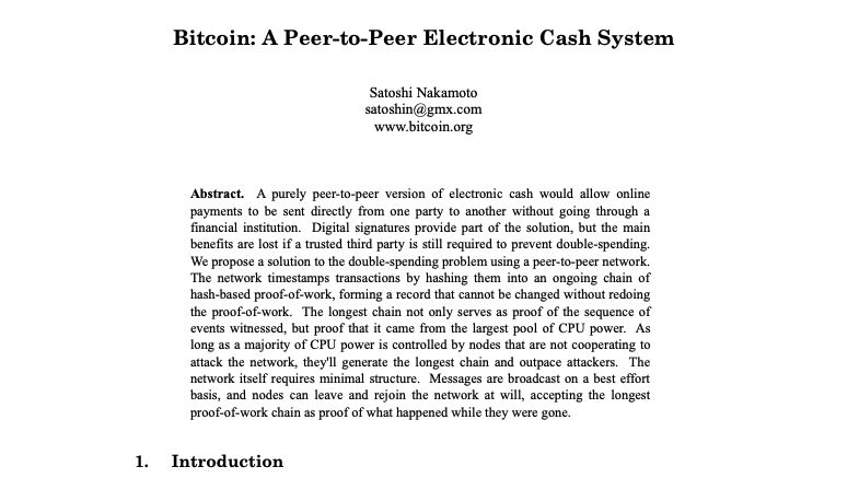Bitcoin white paper available at bitcoin.org/bitcoin.pdf