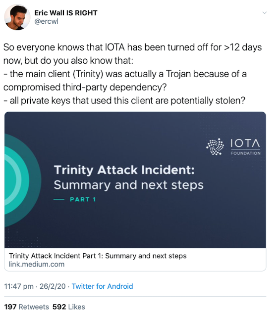 Yes Eric is right, at least about IOTA.