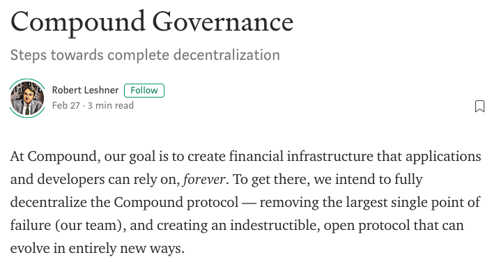 Compound announcing the release of the Compound governance token.