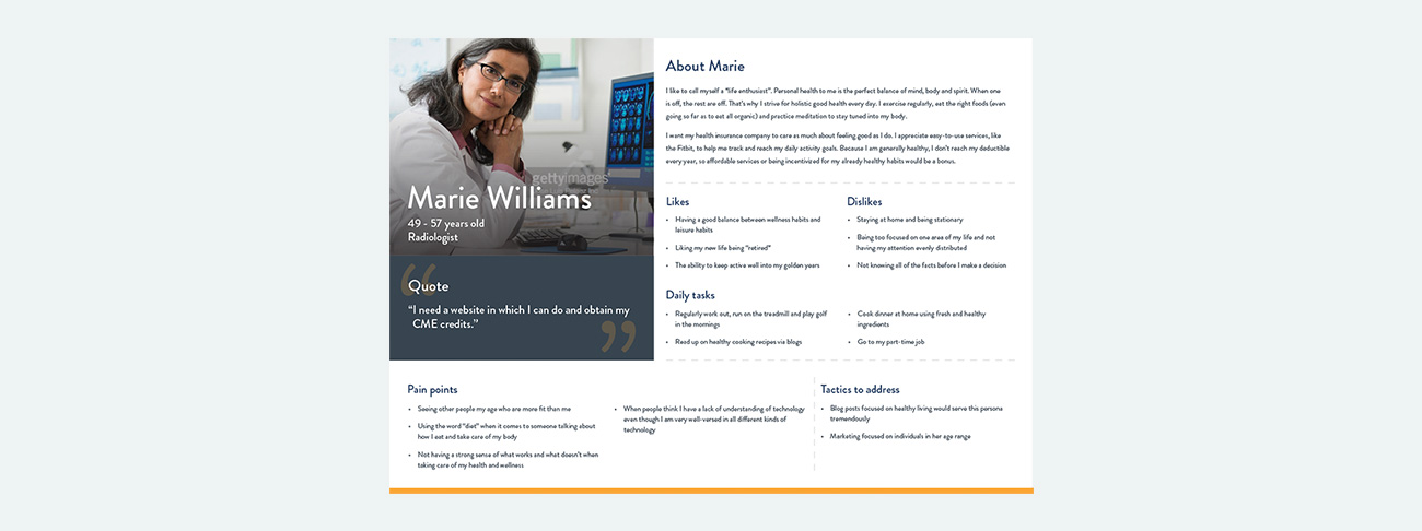 One of the personas developed for the ACR site