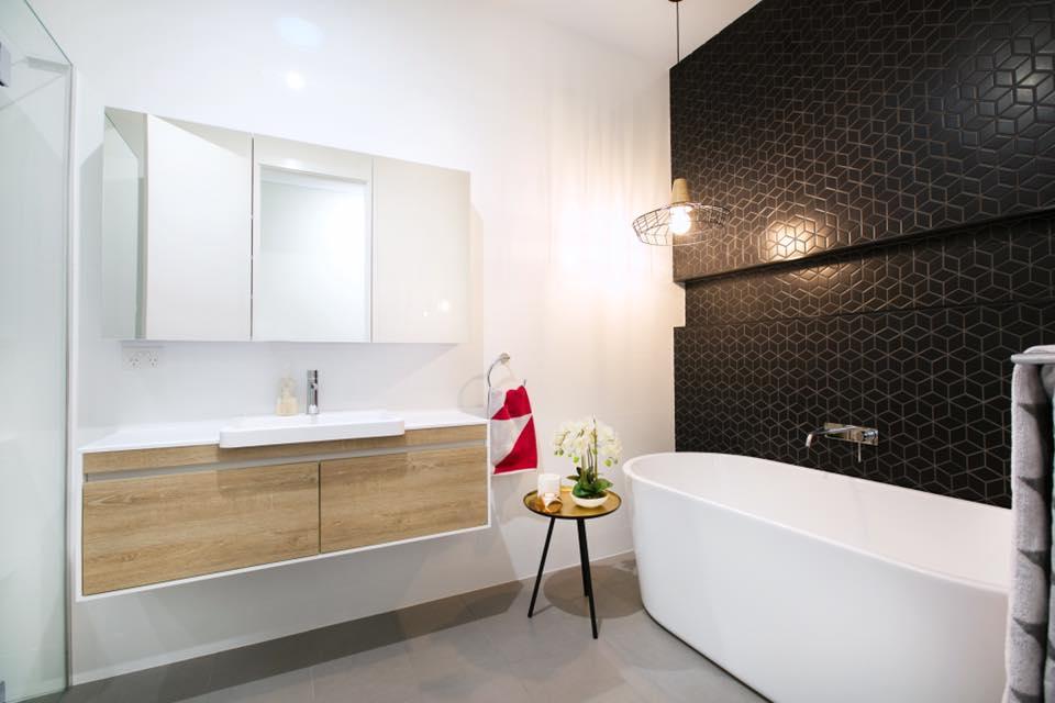 Bathroom Feature Wall CZM121B RHOMBUS BLACK MATT MOSAIC (266x305sht) & Walls WHITE GLOSS RECTIFIED (NC6300-H) 6PCBOX (300X600).jpg