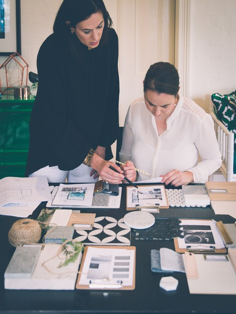 Katrina Kluzek working on client consultation at Colindale Design     Photography by Claire Cosh ( @clairecollected )