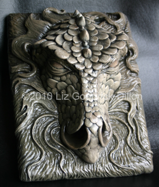 Dragon Plaque Sculpture  Sculpted out of air dry clay and cast in resin then hand painted