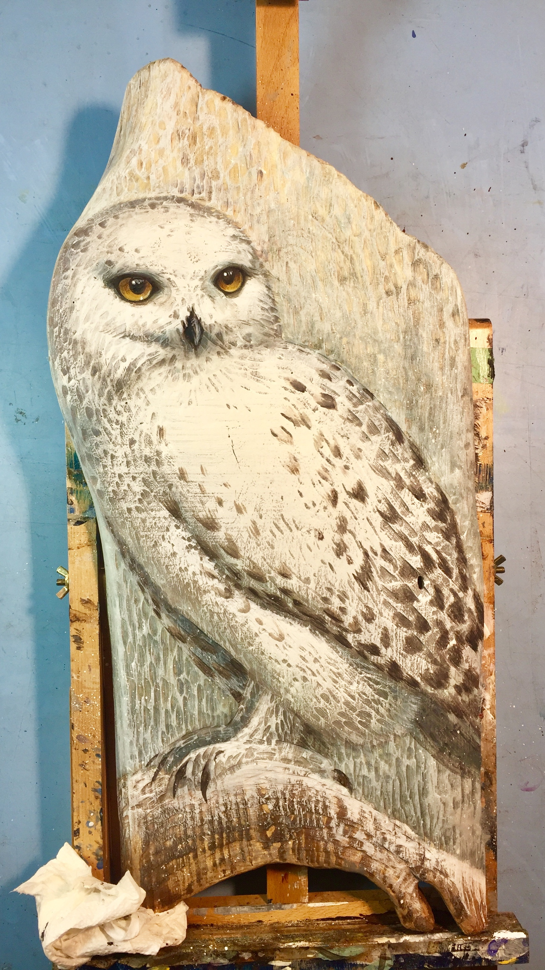 Snowy Owl on wood - by ©Liz Goodrick-Dillon