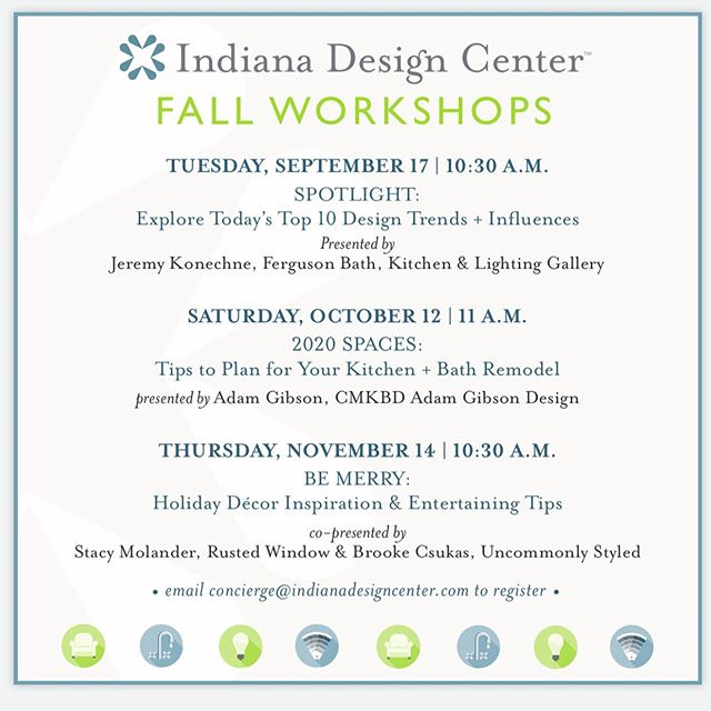 Thrilled to co-host the @indianadesigncenter 🌲 Holiday Entertaining 🍽 workshop this year with ever talented Stacy of @rustedwindow  it's going to BE MERRY! 🖤Come join US! 📅 W O R K S H O P S: Join us for the IDC's fall Designer On Call Workshop series and learn from the professionals. ••• We'll hit the industry highlights ranging from trends to kitchen, bath, and holiday entertaining! ••• Tuesday, 9/17 @ 10:30 a.m. 💡SPOTLIGHT: Explore Today's Top 10 Design Trends + Influences Presented by Jeremy Konechne, @fergusonshowrooms ••• Saturday, 10/12 @ 11 a.m. 🏡2020 SPACES: Tips to Plan for Your Kitchen + Bath Remodel presented by Adam Gibson, CMKBD, @adamgibsondesign ••• Thursday, 11/14 @ 10:30 a.m. 🥂BE MERRY: Holiday Décor Inspiration & Entertaining Tips co-presented by Stacy Molander, @rustedwindow & Brooke Csukas, @uncommonlystyled ••• 📩RSVP to concierge@indianadesigncenter.com