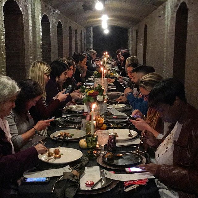 Little throwback to the incredible @yelpindy Underground Friendsgiving in the @indycm Catacombs, what a setting 😍 amazing food, drinks and desserts by @hedgerowbistros @hendricksginco and @gallerypastryshop  Wherever and however you give thanks.... we'd love to help!  Last day for Thanksgiving Tablescape orders is Friday 11/22!