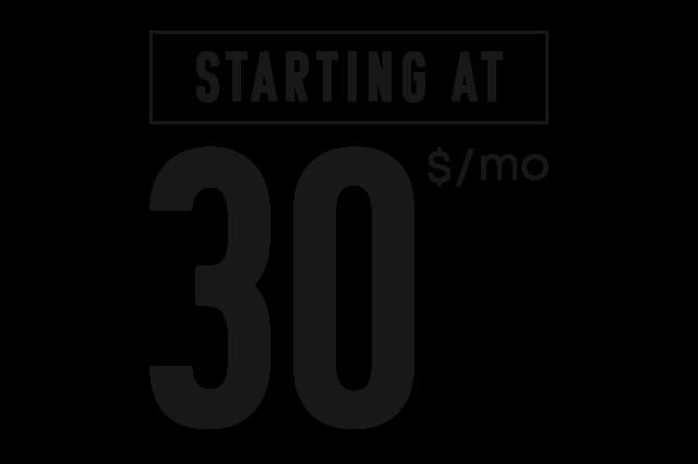Gym memberships starting at $30/month