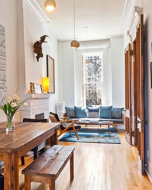 W A R M T H 📸 : @thecorcorangroup Beautifully designed and completely renovated, this single-family townhouse in #ClintonHill instantly feels like home. | 151 Willoughby Avenue | Agents: @heathermcmasterbkny @afdembs and Annette Glass