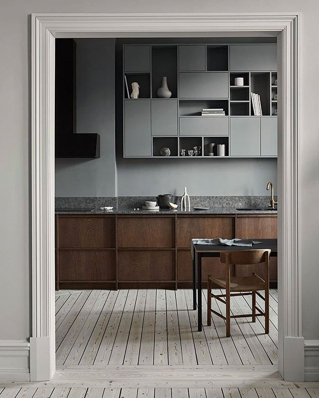 I am loving this dark oak kitchen, in a historical building in Gothenburg. Built in 1894, in French Chateau style. Kinnekulle limestone and a bespoke asymmetric shelf. History meets a modern lifestyle. What do you think? 📸 : @nordiskakok Styling: @sundlingkicken  Photo: @osmantahir