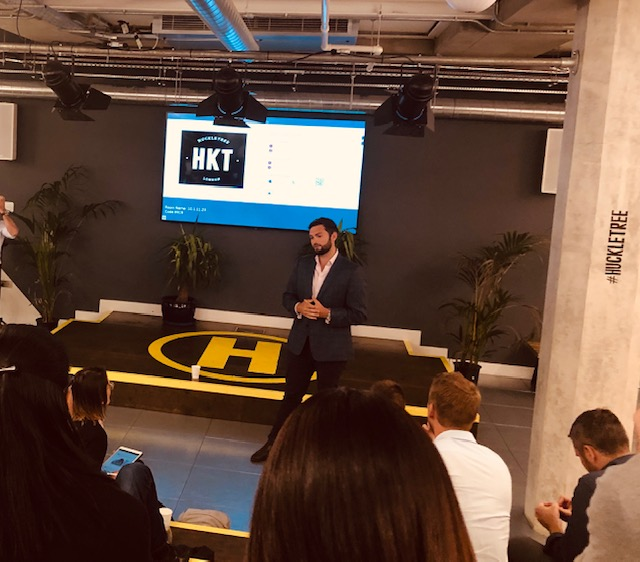 At Huckletree - Chris Milligan, CEO, Adepto speaks about his business journey in the UK, 10th June 2019